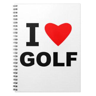 I Love Golf Spiral Notebook