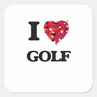 I Love Golf Square Sticker
