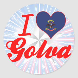 I Love Golva, North Dakota Round Sticker
