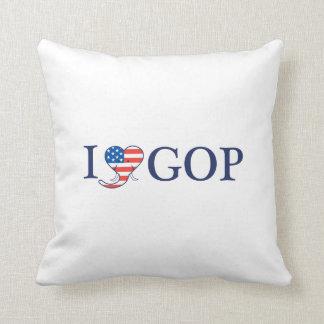 """I Love GOP"" 16"" x 16"" Pillow. Cushion"