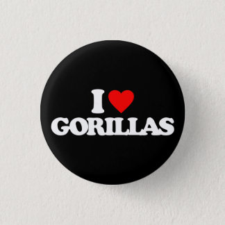 I LOVE GORILLAS 3 CM ROUND BADGE