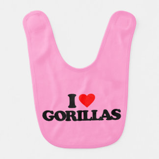 I LOVE GORILLAS BABY BIB