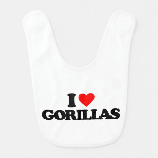 I LOVE GORILLAS BABY BIBS