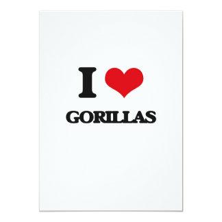"""I love Gorillas 5"""" X 7"""" Invitation Card"""