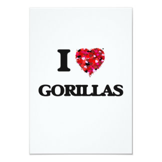 I Love Gorillas 9 Cm X 13 Cm Invitation Card
