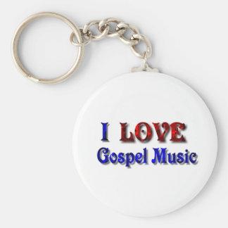 I LOVE Gospel Music -Keychain-Effect-1 Basic Round Button Key Ring