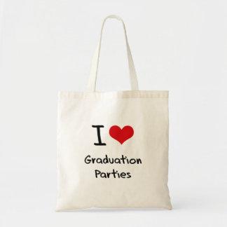 I Love Graduation Parties Canvas Bags