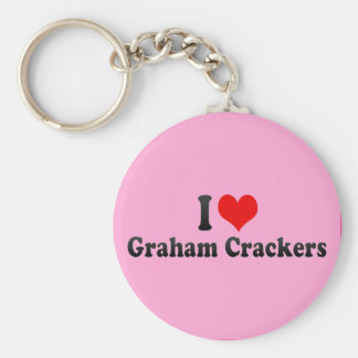 I Love Graham Crackers Basic Round Button Key Ring