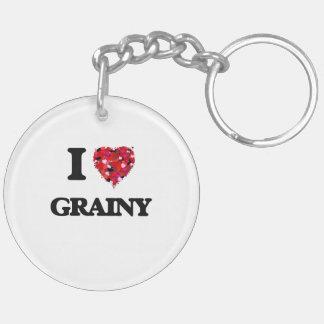 I Love Grainy Double-Sided Round Acrylic Key Ring