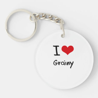 I Love Grainy Single-Sided Round Acrylic Key Ring