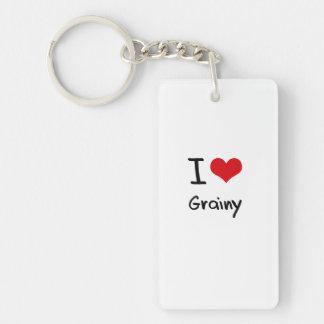 I Love Grainy Single-Sided Rectangular Acrylic Key Ring
