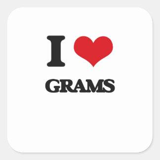 I love Grams Square Stickers