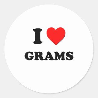 I Love Grams Round Sticker