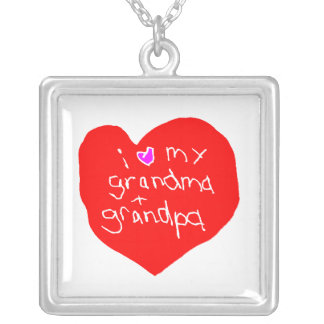 I Love Grandma and Grandpa Silver Plated Necklace