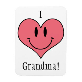 I Love Grandma! Cute Heart Smilie Rectangular Magnets