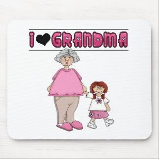 I Love Grandma Redhead Girl Mouse Pad