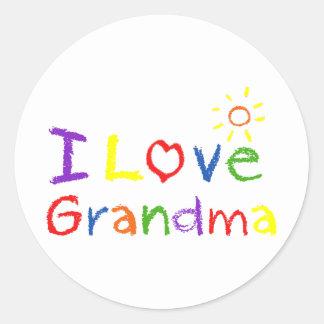 I Love Grandma Round Sticker
