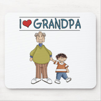 I Love Grandpa Brown Haired Boy Mouse Mat