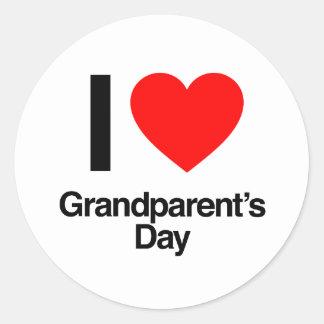 i love grandparent s day round stickers
