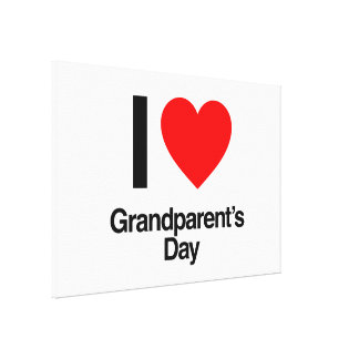 i love grandparent's day stretched canvas print