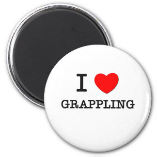 I Love Grappling 6 Cm Round Magnet