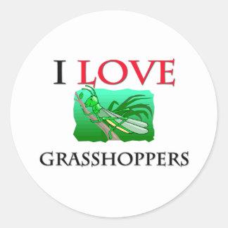 I Love Grasshoppers Classic Round Sticker
