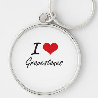 I love Gravestones Silver-Colored Round Key Ring