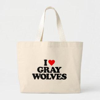 I LOVE GRAY WOLVES CANVAS BAG