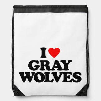 I LOVE GRAY WOLVES CINCH BAG