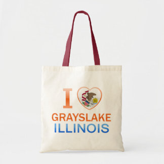 I Love Grayslake IL Canvas Bags
