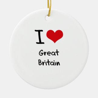 I Love Great Britain Christmas Ornaments