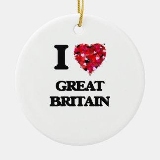 I Love Great Britain Round Ceramic Decoration