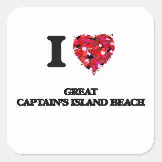 I love Great Captain'S Island Beach Connecticut Square Sticker