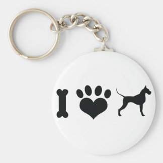 I LOVE Great Danes! Basic Round Button Key Ring
