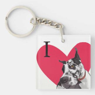 I love Great Danes Single-Sided Square Acrylic Keychain