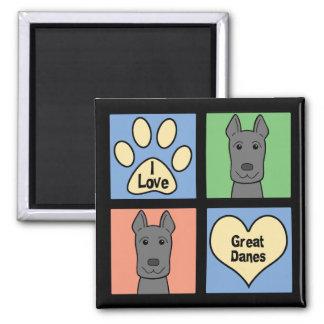 I Love Great Danes Square Magnet