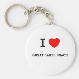 I Love Great Lakes Beach Michigan Basic Round Button Key Ring