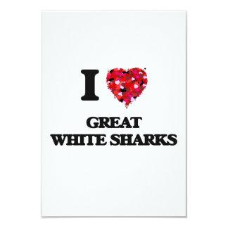 I love Great White Sharks 9 Cm X 13 Cm Invitation Card