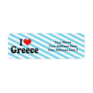 I Love Greece Return Address Label