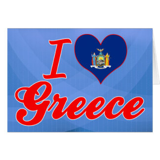 I Love Greece New York Greeting Cards