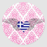 I Love Greece -wings Round Sticker