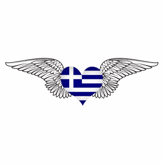 I Love Greece -wings Standing Photo Sculpture
