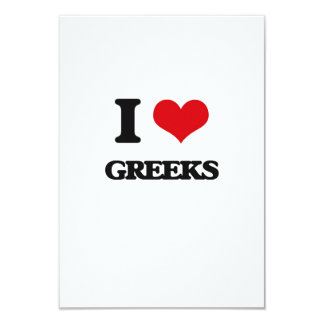 I love Greeks 9 Cm X 13 Cm Invitation Card