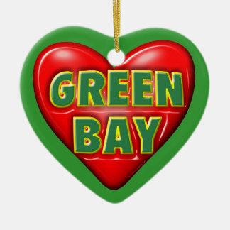 I Love Green Bay Ceramic Heart Decoration