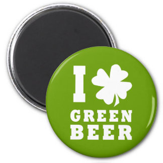 I Love Green Beer 6 Cm Round Magnet