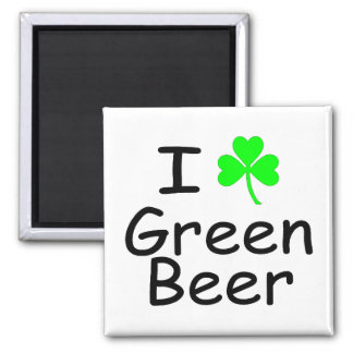 I Love Green Beer Square Magnet