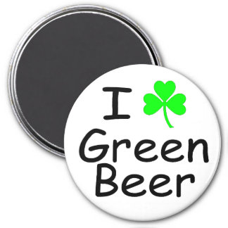 I Love Green Beer St Patricks Day 7.5 Cm Round Magnet