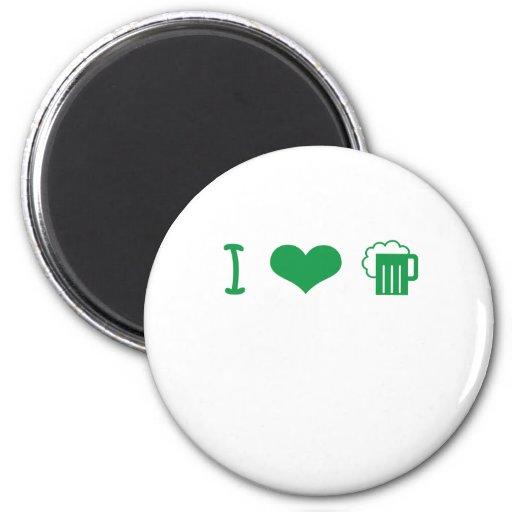 I Love Green Beer St. Patrick's Design Refrigerator Magnet