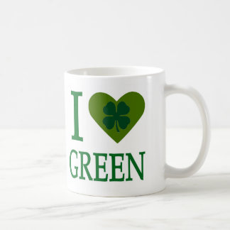 I Love Green Coffee Mugs