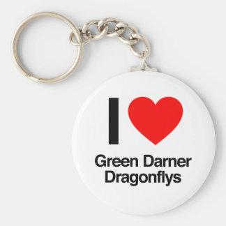 i love green darner dragonflys key chain